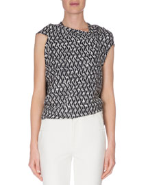 Weave-Print Asymmetric Top, Navy/White
