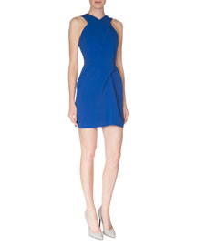 Pleated Stretch-Crepe Halter Dress, Royal Blue