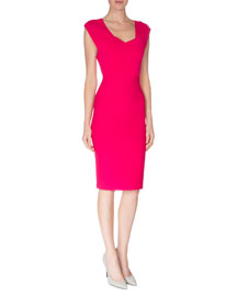Open-Back Crepe Sheath Dress, Magenta