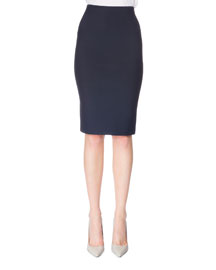 Stretch-Crepe Pencil Skirt, Navy