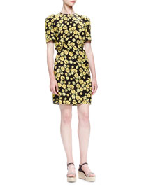 Pansy-Printed Silk Dress, Citron/Multi