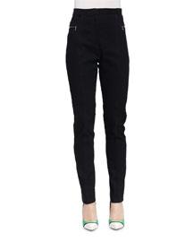 Skinny Zip-Pocket Biker Pants, Black