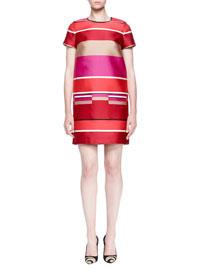Striped Faille Short-Sleeve Dress