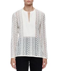 Chevron Lace Grosgrain-Paneled Blouse
