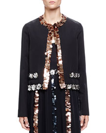 Sequin-Trimmed Faille Jacket