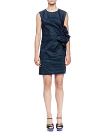 Bow-Front Crinkled Organza Sheath Dress