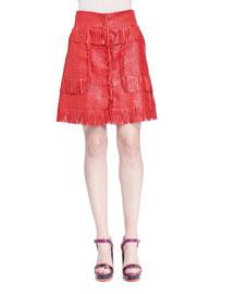 Woven Leather Fringe Skirt, Rouge