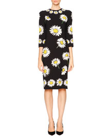Daisy-Print Cady Pencil Dress, Black