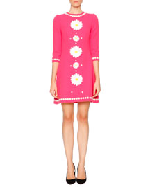 Daisy Wool-Crepe Fit-and-Flare Dress, Pink