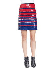 Allover Striped Sequined Mini Skirt
