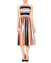 Striped Cotton Open-Back Dress, Orange