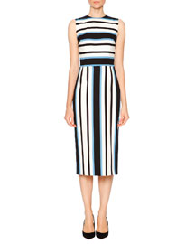 Sleeveless Line-Bar Stripe Dress, Blue/White/Black
