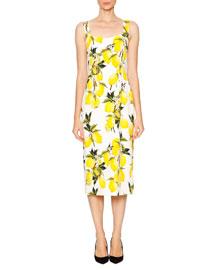 Lemon-Print Sweetheart-Neck Dress, White/Yellow