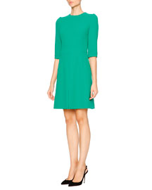 Silk Crepe Fit-and-Flare Dress, Green