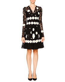 Daisy-Embroidered Long-Sleeve Lace Dress, Black