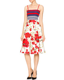 Floral-Print Faille Party Skirt, White/Red