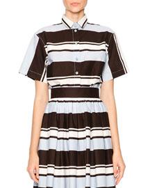 Bijoux Striped Cotton Short-Sleeve Shirt