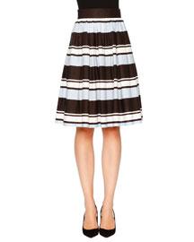 Striped A-Line Party Skirt, Blue/White/Black