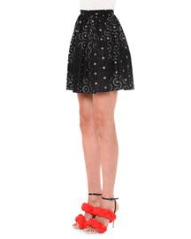 Flower-Embellished Cotton Mini Skirt