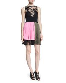 Asymmetric Colorblock Lace-Top Dress