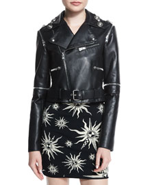 Zip-Trimmed Leather Moto Jacket, Black
