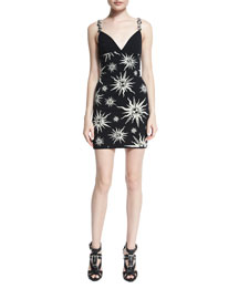 Ornament-Strap Sun-Print Mini Dress