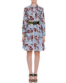 Floral-Print Cotton Peplum Shirtdress