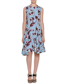 Dropped-Waist Floral-Print Dress, Illusion Blue
