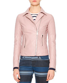 Quilted Leather Moto Jacket, Blush