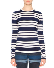 Striped Long-Sleeve Knit Silk-Cashmere Top, Navy/White