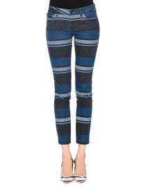 Multi-Striped Stretch-Denim Jeans