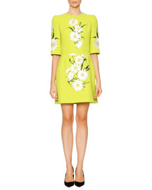 Daisy-Embroidered Wool-Crepe Dress, Neon Green