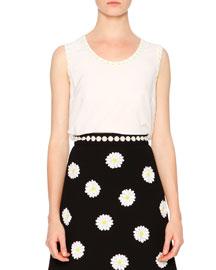 Daisy-Trimmed Sleeveless Silk Top, White