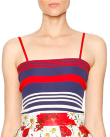 Striped Silk Spaghetti-Strap Top, Navy/Red