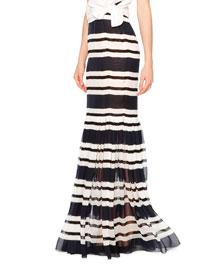 Sheer Striped Silk Maxi Skirt, Navy/White