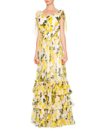 Lemon-Print Silk Chiffon Maxi Dress, White/Yellow