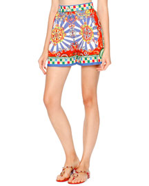 Printed High-Waist Cotton Shorts, Blue