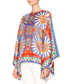 Printed Stretch-Silk Kimono Blouse, Blue Print