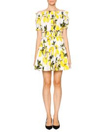 Lemon-Print Off-the-Shoulder Dress, White/Yellow