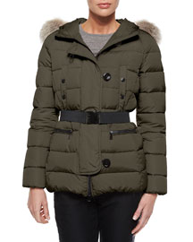 Genette Belted Puffer Jacket with Fur Hood