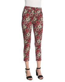Brigitte Cropped Floral-Print Pants, Red (Rouge)
