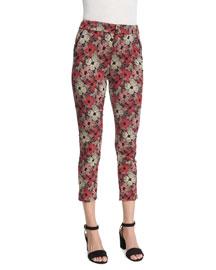 Brigitte Cropped Floral-Print Pants, Red (Rouge)