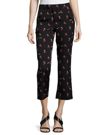 Olivia Cherry-Print Silk Pants