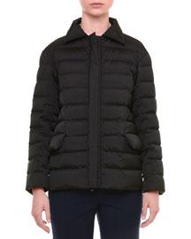 Spread-Collar Zip-Front Short Puffer Coat, Black
