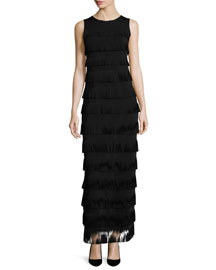 Sleeveless Tiered Fringe Gown, Black
