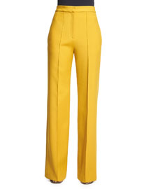 High-Waist Wide-Leg Pants, Yellow