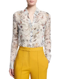 Floral-Print Button-Down Silk Blouse, White Pattern