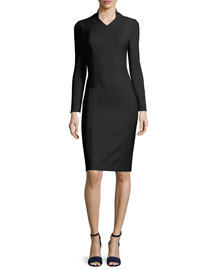 Fitted Long-Sleeve Stretch-Wool Dress, Black