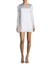Long-Sleeve Embroidered Crepe Mini Dress, White