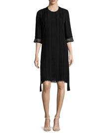 Embroidered 3/4-Sleeve Karate Dress, Black